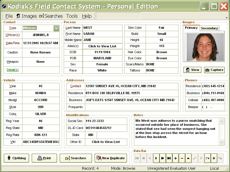 Click to view Police Field Contact Manager 7 screenshot